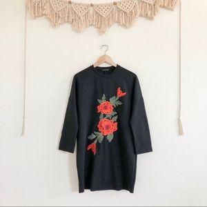 Zara Floral Embroidered Sweatshirt Tunic/ Dress
